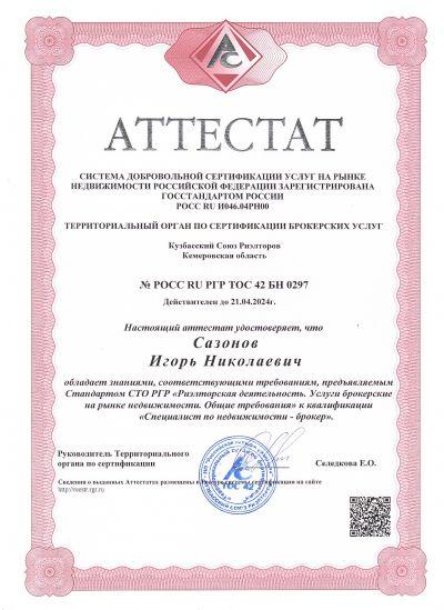 Аттестат Сазонов Игорь Николаевич
